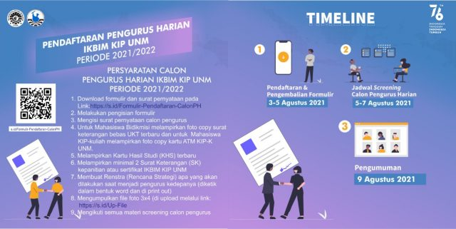 Ini posternya kak Ket: Poster Pendaftaran Pengurus Harian IKBIM KIP UNM Periode 2021-2022 (Foto: Ist)