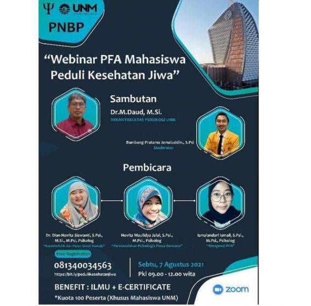 Pamflet Kegiatan Webinar PFA Mahasiswa Peduli Kesehatan Jiwa (Foto: Ist)