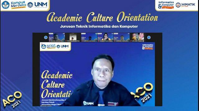 Penyampaian Sambutan Ketua JTIK dalam Acara Academic Culture Orientation (ACO) 2021. (Foto: Int).