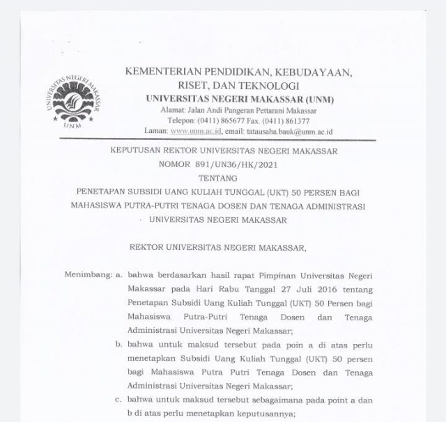 Surat keputusan kebijakan subsidi UKT 50% bagi anak dosen dan tenaga administrasi UNM. Foto - Ist.