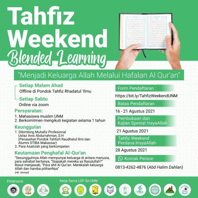 Pamflet Program Tahfidz Weekend. (Foto: Ist).
