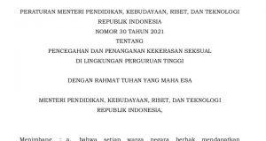 Screenshot Salinan Permendikbud Ristek tentang Pencegahan dan Penanganan Kekerasan Seksual di Lingkungan Perguruan Tinggi. (Foto: Ist.)